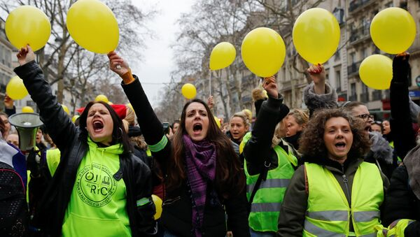 Protesty żółtych kamizelek w Paryżu, 6 stycznia 2019 - Sputnik Polska