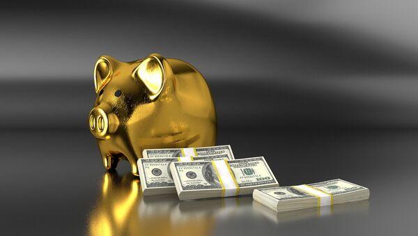Złota świnka skarbonka i świstki dolarów - Sputnik Polska