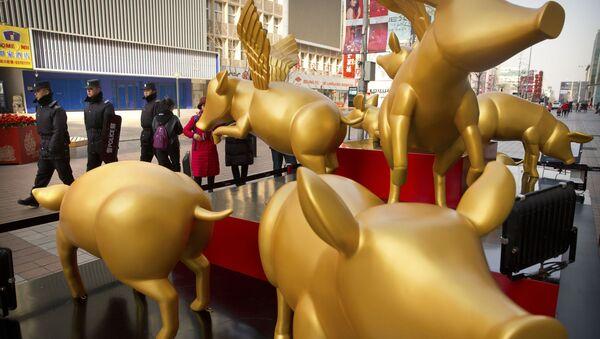 Posągi złotych świń z okazji Nowego Roku w Pekinie - Sputnik Polska