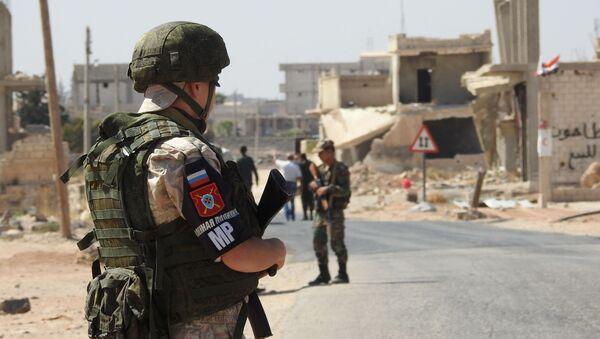 Korytarz humanitarny Abu Duhur w syryjskiej prowincji Idlib - Sputnik Polska