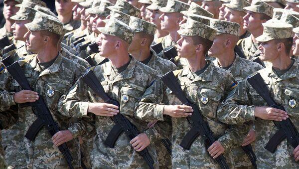 Ukraińscy żołnierze na defiladzie wojskowej w Kijowie - Sputnik Polska
