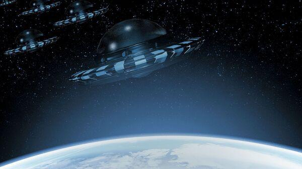 Artystyczny obraz UFO w pobliżu Ziemi - Sputnik Polska