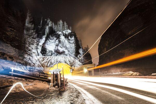 Portret na drzewach w Val-d'Isère we Francji - Sputnik Polska