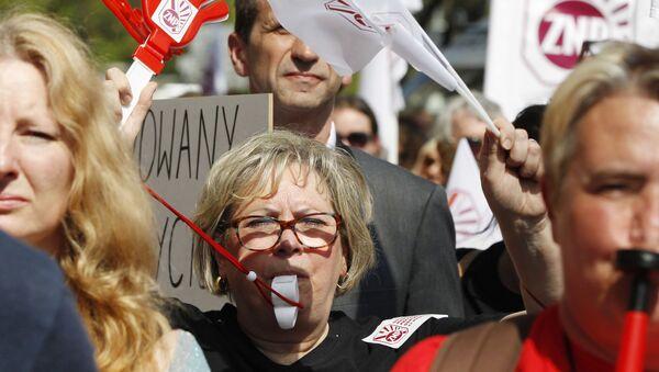 Protest nauczycieli w Warszawie. Zdjęcie archiwalne - Sputnik Polska